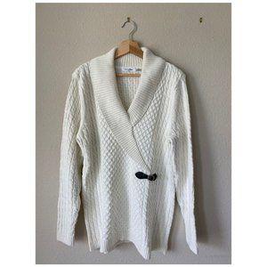 Calvin Klien White Cable Knit Sweater Size XL